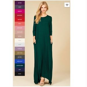 Dresses & Skirts - Hunter Green 3/4 Sleeve Maxi Dress with Pockets
